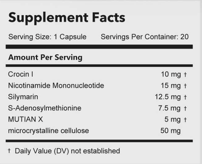 Mutian Capsules (100 mg x 10 capsules)成分